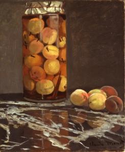 Claude Monet. Das Pfirsichglas. Öl/Leinwand, 55,5 x 46 cm. Galerie Neue Meister, Galerienummer: 2525 B. Veröffentlichung nur mit Genehmigung und Quellenangabe.